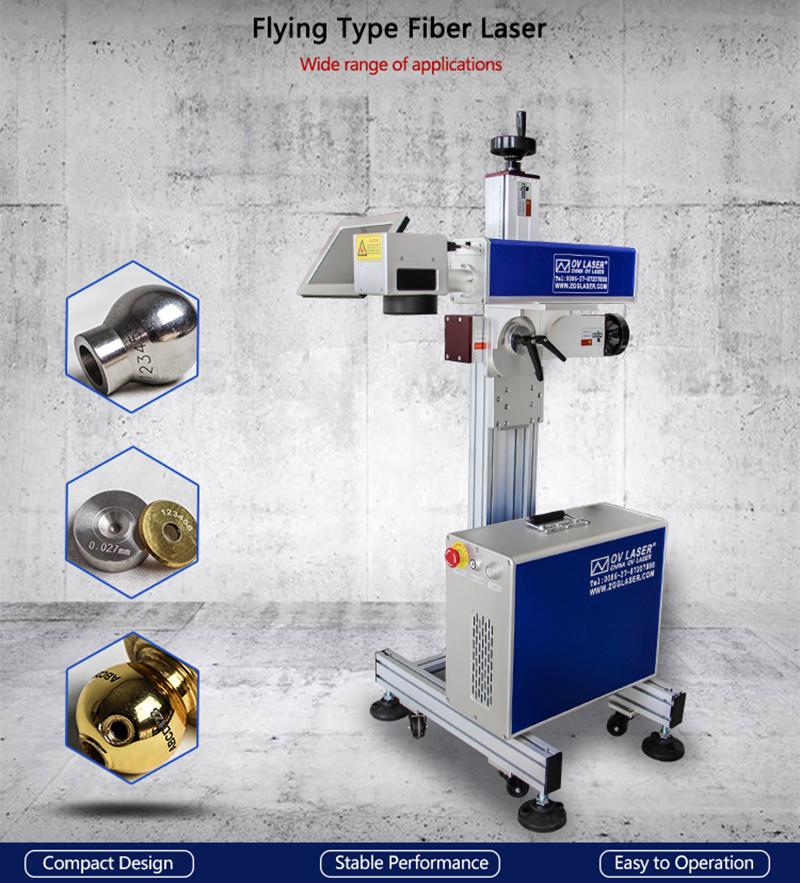 20w 30w Flying Fiber Laser Marking Machine With Conveyor Belt For Pen