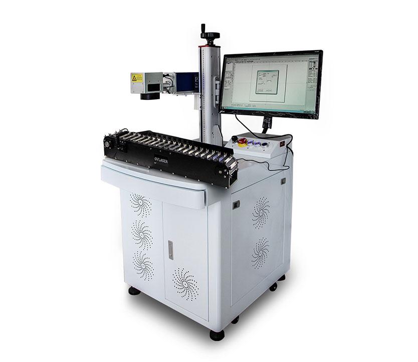 20w 30w Adjustable Flying Fiber Laser Marking Machine With Conveyor Belt For Pen