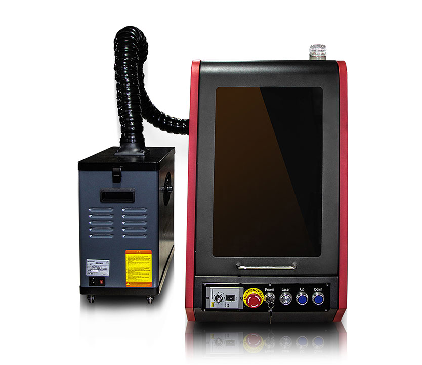mini enclosed fume extractor   20w 30w jpt mopa fiber color  laser marking machine for stainless steel