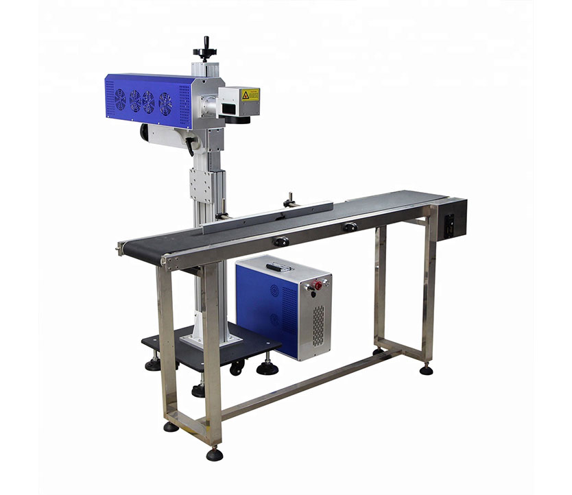 High Speed  Adjustable CO2 laser marking machine with Conveyor