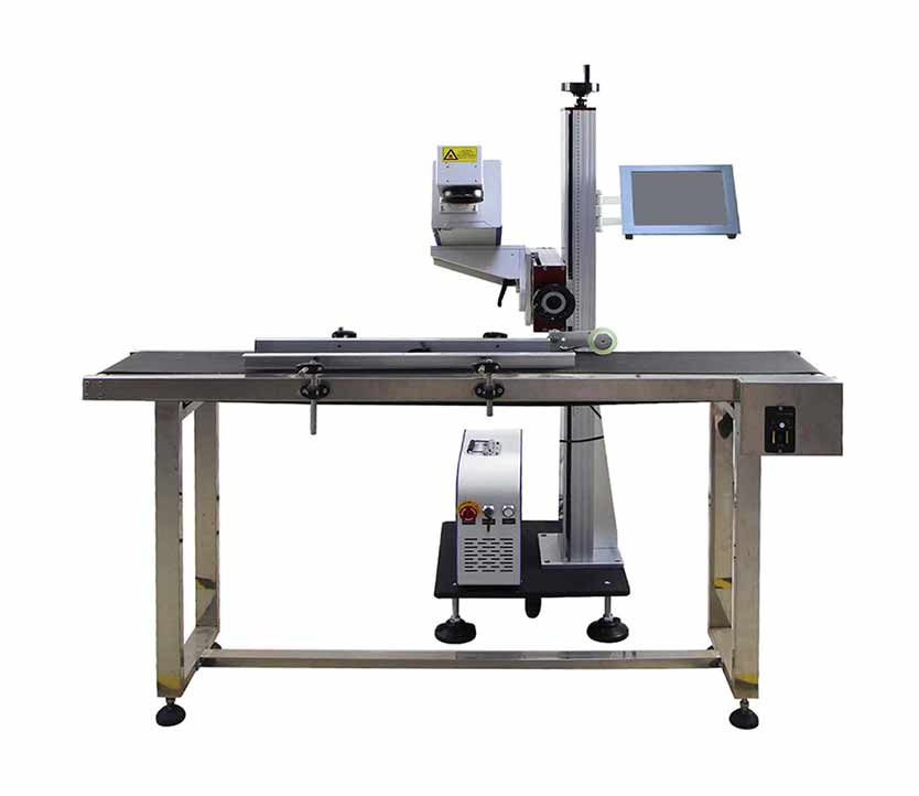 CO2 flying laser marking machine  pen engraving machine with automatic conveyor